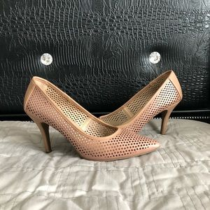 👠Cato Perforated Nude Heels EUC Size 10👠